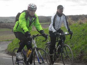 Chi on his final ride with Bromley Cyclists with Martin