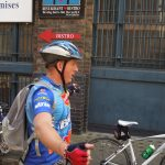 Ride Leader Peter at Bleeding Heart Yard nr Farringdon